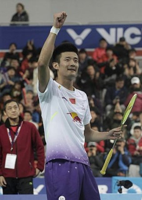China's Chen Long celebrates after winning over Malaysia's Lee Chong Wei at their men's singles final match at the Korea Open Badminton tournament in Seoul, South Korea, Sunday, Jan. 12, 2014. Chen won the match 21-14, 21-15.