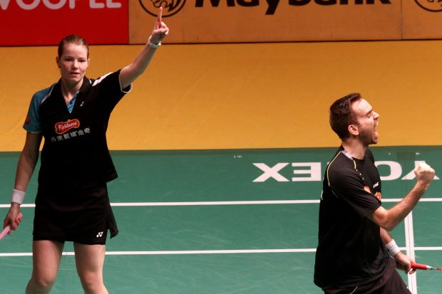 Christinna Pedersen-Joachim Fischer Nielsen are through to the mixed doubles final at the Malaysian Open badminton championship after beating Olympic champions Ma Jin-Zhao Yunlei in the semis at Putra Stadium on Saturday.