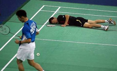 Worthy finalists: Lee Chong Wei flooring Vietnam's Nguyen Tien Minh with a killer shot