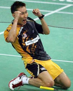 Lee Chong Wei celebrates after beating Thailand's Boonsak Ponsana in the Malaysian Open Badminton Final at Putra stadium in Bukit Jalil Sunday.