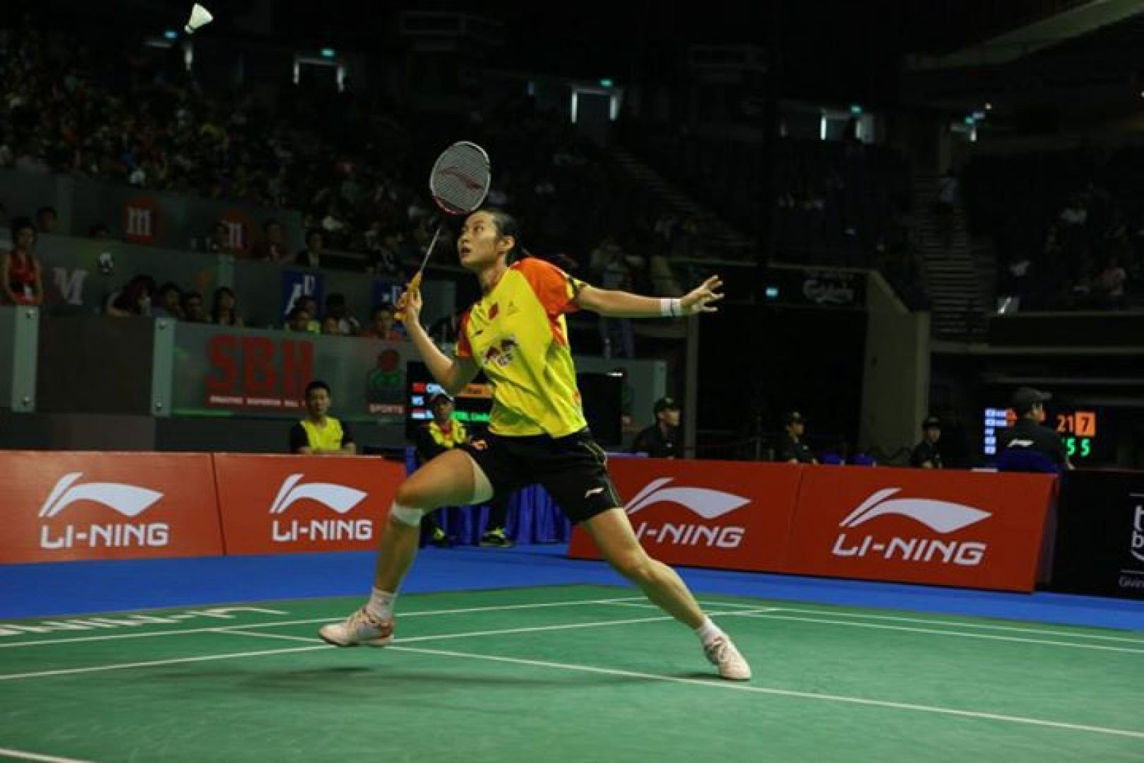 China's Wang Yihan (pictured) will be among the stars to headline the US$300,000 OUE Singapore Open badminton championships from April 8 to 13 at the Singapore Indoor Stadium. Photo courtesy of the Singapore Badminton Association.