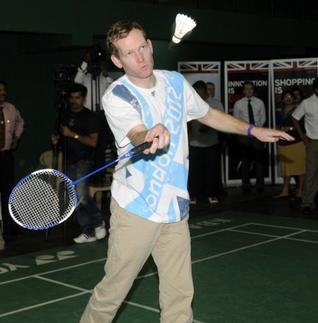 Browne chose the badminton court of (PPBA) Prakash Padukone Badminton Academy to promote the Games.