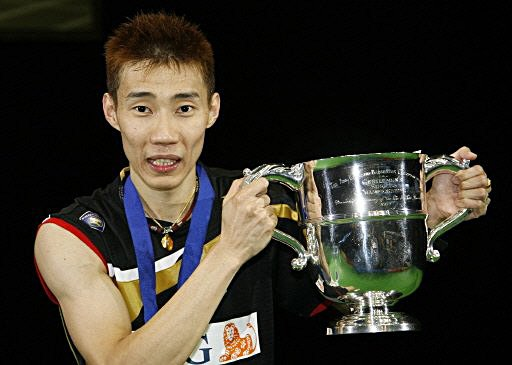 Lee Chong Wei with his All England Trophy