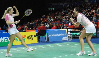 Jenny Wallwork and Gabby White celebrate a victory at All England Championships