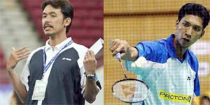 Busy man: Rashid Sidek (left) will chart the strategies of the singles players, headed by Hafiz Hashim (right), in the Asian Badminton Championships.