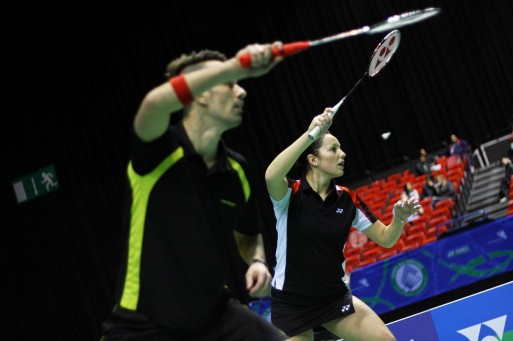 ON THE MARCH: Nathan Robertson and Jenny Wallwork eased into the quarter-finals of the European Championships in Manchester