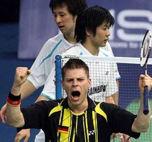 Shortlived joy: Germany's Michael Fuchs celebrate after the first singles win over Japan's Hiroyuki Endo-Yoshiteru Hirobe in the quarter-finals last night.