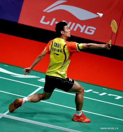 China's Chen Long competes during the men's singles badminton match against Indonesia's Tommy Sugiarto at the quarterfinals of the Sudirman Cup World Team Badminton Championships in Kuala Lumpur, Malaysia, on May 23, 2013. Chen won 2-0.