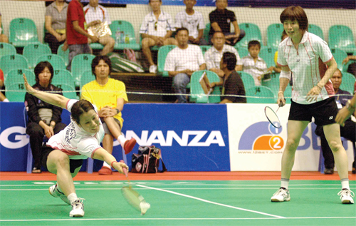Seiko Yamada and Yuka Hayashi of Japan in action in women's doubles
