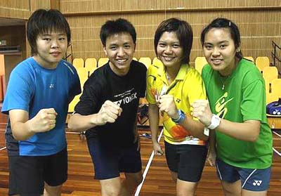 All set: (from left) Tee Jing Yee, Zulfadli Zulkifli, Florah Ng and Ng Sin Zou are ready to strut their stuff in the Asian Junior Championships.