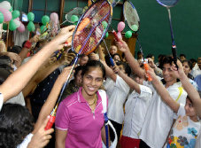 Hail the champ: Saina Nehwal gets a grand welcome at a felicitation function organised by Badminton45 in Mumbai on Saturday.