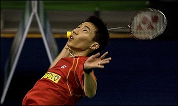 Malaysia's Lee Chong Wei competes against Germany's Dieter Domke, unseen, during the World Badminton Championships, in Hyderabad, India, Monday, Aug. 10, 2009.