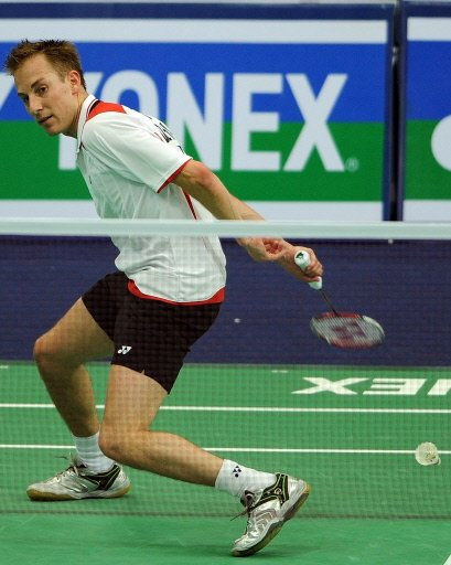 Peter Gade of Denmark in action