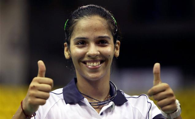 Saina Nehwal flashes the victory sign. Saina has been chosen brand ambassador of Andhra Pradesh tourism.