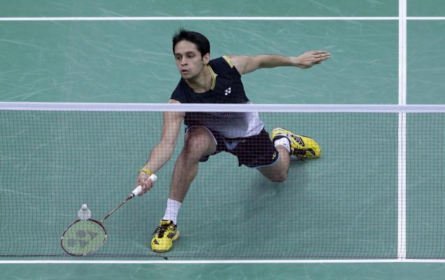 India's Kashyap Parupalli plays against Malaysia's Lee Chong Wei (unseen) at a men's singles badminton quarterfinal match of the 2012 Summer Olympics, in London on Thursday.