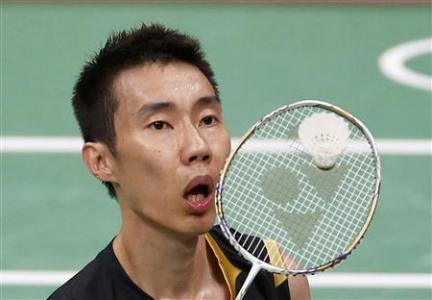 Malaysia's Lee Chong Wei plays against China's Chen Long during their men's singles badminton semifinals match during the London 2012 Olympic Games at the Wembley Arena August 3, 2012