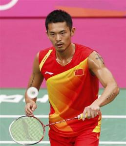 China's Dan Lin plays against South Korea's Lee Hyun Il during their men's singles badminton semifinals match during the London 2012 Olympic Games at the Wembley Arena August 3, 2012.