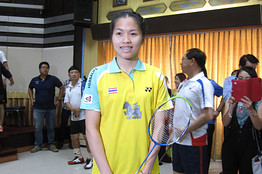 Thailand's badminton world champion Ratchanok Inthanon pictured before an exhibition match with Bangkok's police chief on Wednesday.