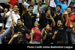 "The crowd, after witnessing the highly-followed Saina vs Sindhu match, had a field day at the Siri Fort Complex. There was singing and dancing, fun and games and loads of rooting for the Banga Beats fans in the crowd, which chanted their favourite slogan - ""Banga Banga Boom Boom""."