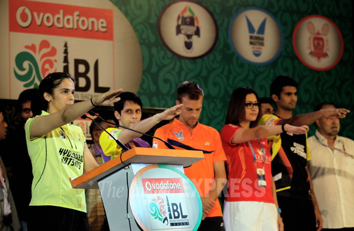 Saina Nehwal, Jwala Gutta, Sai Praneeth and other badminton players taking an oath at the opening ceremony of Indian Badminton League at Sirifort sports complex in New Delhi on Wednesday.