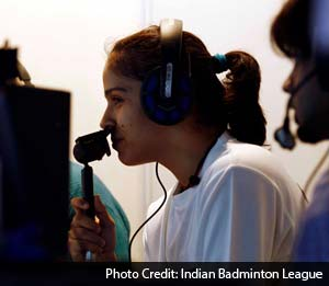 Saina Nehwal tried her commentary skills as she took the mic in the Hindi broadcasting box.