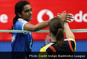 PV Sindhu (Awadhe Warriors) and Juliane Schenk (Pune Pistons)