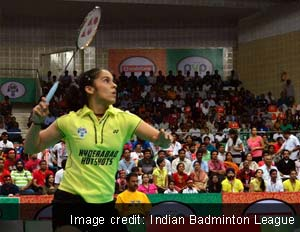Saina Nehwal beats Tai Tzu Ying of Banga Beats 21-17 14-21 11-8 to give Hyderabad Hotshots 2-0 lead