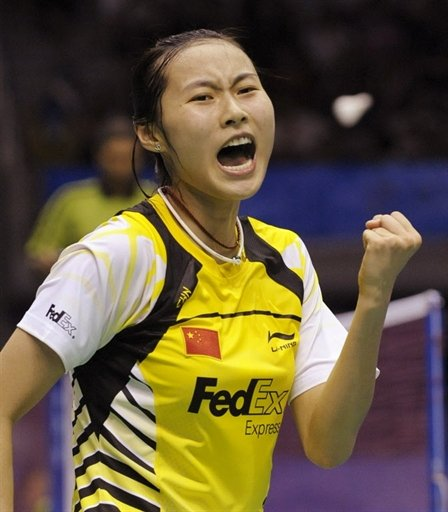 China's Wang Yihan celebrates after winning an earlier match