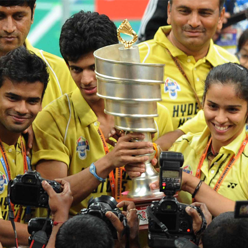 Indian Badminton League Champion - Hyderabad Hotshots Ajay Jayaram and Saina Nehwal