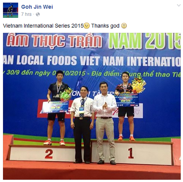 Goh Jin Wei wins 2015 Vietnam International Series