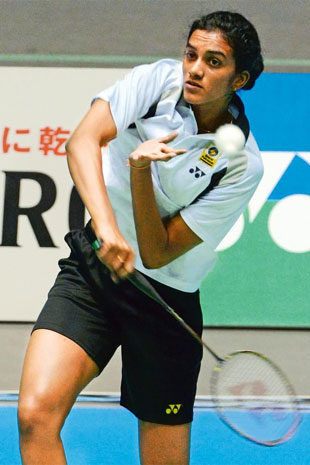 Volley under way: P.V. Sindhu.