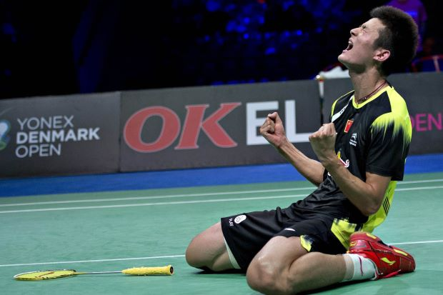 Chen Long reacts after winning the Denmark Open final against Lee Chong Wei. He has pulled out of the French Open, clearing the path for Chong Wei.