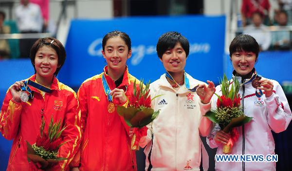 (From L to R) Silver medalist China's Wang Xin, Gold medalist Wang Shixian, bronze medalists Yip Pui Yin of Hong Kong of China and Japan's Eriko Hirose pose during the awarding ceremony for the women's singles of badminton at the 16th Asian Games in Guangzhou, south China's Guangdong Province, Nov. 20, 2010.