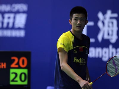 China's Chen Long competes at the China Open on November 24th, 2011 in Shanghai, China.