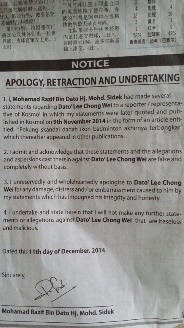 Razif Sidek publicly apologizes to Lee Chong Wei