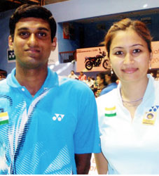 V Diju (L) and mixed doubles partner Jwala Gutta