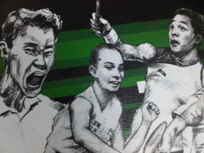 Super art: A graphic sketch of (from left) Lee Chong Wei, Peter Gade Christensen and Taufik Hidayat in the 2011 Super Series Masters Finals souvenir book.
