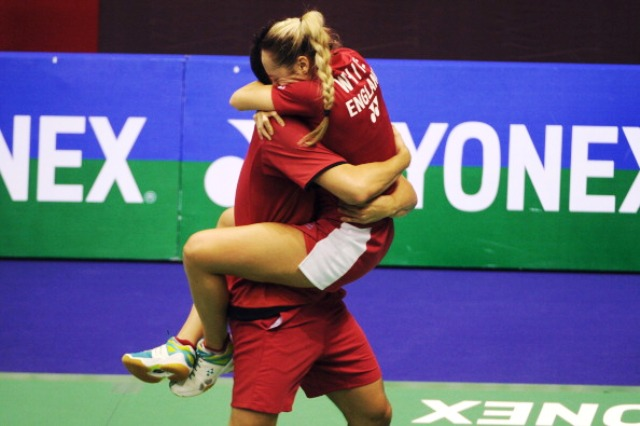Chris and Gabby Adcock celebrate their win at the Hong Kong Open in November 2013