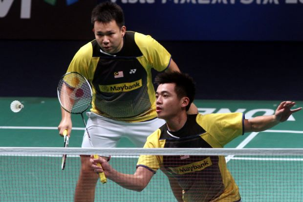 Hoon Thien How-Tan Wee Kiong in a file photo. The pair beat Hong Kong qualifiers Chan Yun Lung-Lee Chun Hei 19-21, 21-13, 21-4 in the All-England first round.
