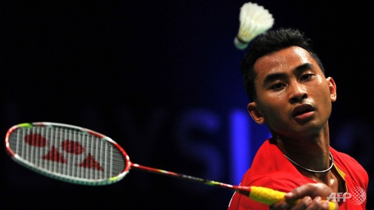 Tommy Sugiarto of Indonesia during the men's singles semi final at the BWF badminton World Superseries Finals in Kuala Lumpur in December 2013.