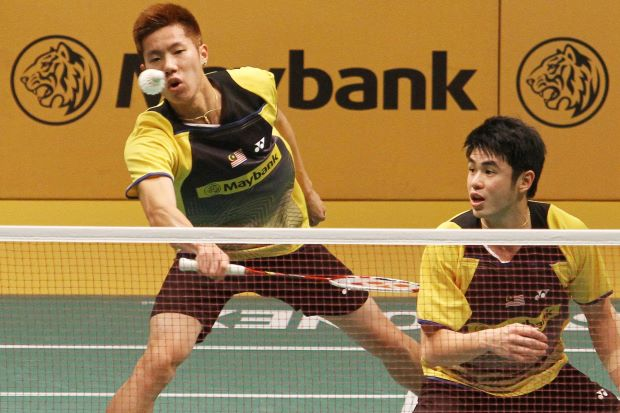 Goh V Shem-Lim Khim Wah in a file photo. The pair lost to Danish duo Mathias Boe-Carsten Mogensen 21-23, 11-21 in the first round of the the All-England.