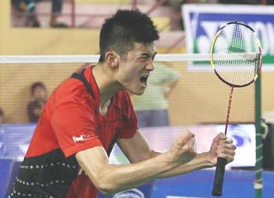 Big win: China's Chen Long celebrating his win over Indonesia's Taufik Hidayat Wednesday. Chen Long won 21-14, 20-22, 21-19.