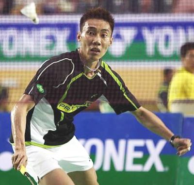 Right on track: Lee Chong Wei outplayed China's Zhou Wenlong 21-18, 21-4 to march into the quarter-finals.