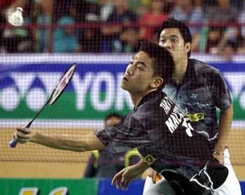 Simply too good: Kien Keat-Boon Heong making a return shot against Teik Chai-Bin Shen during their men's doubles final clash at the Malaysia Open in Johor Bharu yesterday. Kien Keat-Boon Heong wonn 21-11 21-13.