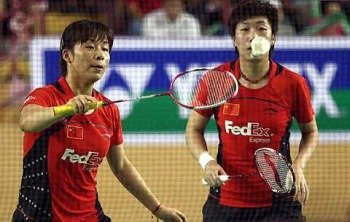 Full speed ahead: China's Ma Jin-Wang Xiaoli in action against Malaysia's Wong Pei Tty-Chin Eei Hui during the doubles finals yesterday. The Chinese pair won 21-9, 21-11.
