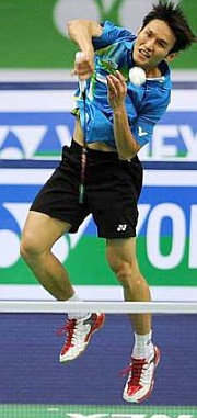 Gritty show: Hsieh Yu-hsing returns a shot to Arvind Bhat of India yesterday. Yu-hsing won 21-14, 19-21, 24-22.