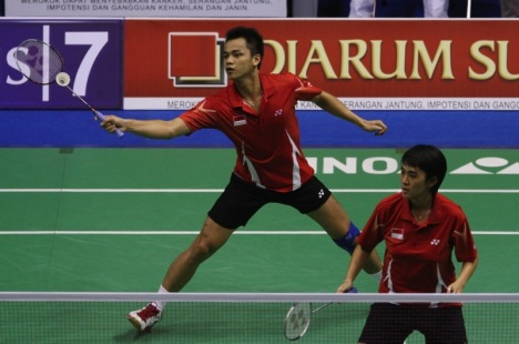 Hendra April Gunawan, left, and Vita Marissa lost in the mixed doubles final to Chinese duo He Hanbin and Yu Yang.