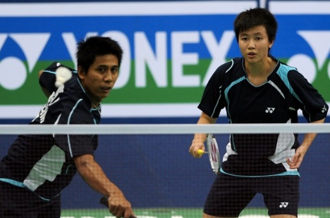 Liliyana Natsir, right, and Nova Widianto during the mixed doubles final match of the World Badminton Championships at the in Hyderabad earlier this month.