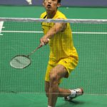 China's Lin Dan returns a shuttle during men's singles second round match against Hsieh Yu-hsin of Chinese Taipei at 2009 China Badminton Masters Super Series in Changzhou, east China's Jiangsu Province, Sept. 17, 2009. Lin won 2-0.