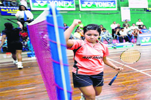 Sayli Rane reacts after winning the final of the U-19 Sushant Chipalkatti All India Badminton Junior Tournament on Sunday.
